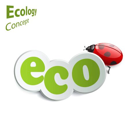 harmless: Eco world. Label with ladybird on a white background. The design concept of ecology. eco icon