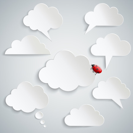 ร   ร   ร   ร  ร ยข  white clouds: Eight white clouds. Concept speech labels. Ladybug on a cloud. On a gray background. Illustration