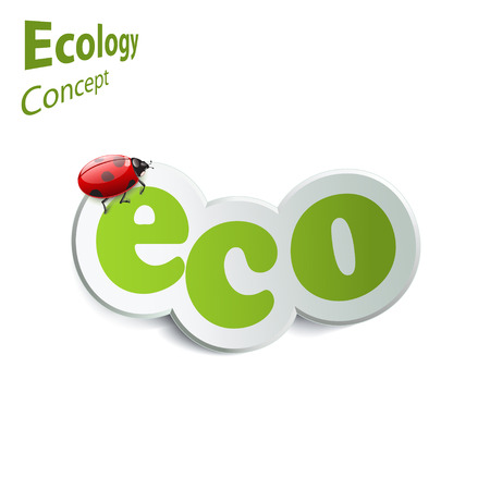 eco icon: Eco world. Label with ladybird on a white background. The design concept of ecology. eco icon
