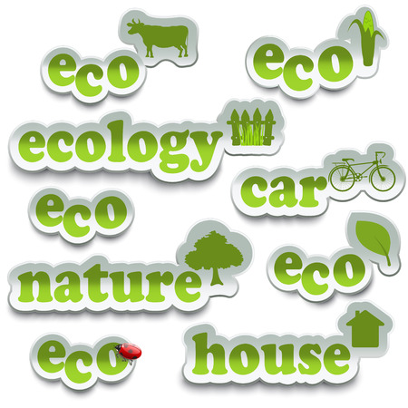 harmless: Labels ecology in the amount of five pieces on a white background. The design concept of ecology. Eco icon. Eco world. Ecological products. Illustration