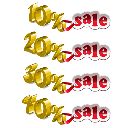 amount: Interest in the amount of four pieces. Concept of discount. As the label. Yellow color. Ten percent. Twenty percent. Thirty percent. Forty percent.