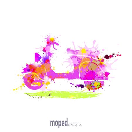 endurance: Silhouette moped color. Since the notion of pleasure. It consists of colored ink stains and smudges. On a white background. Illustration