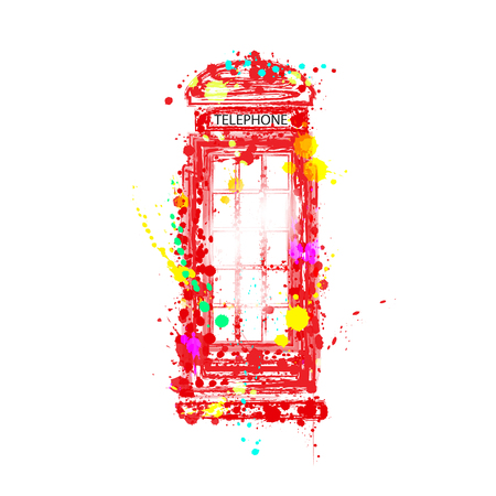 like it: The concept of fun. Red phone booth like. It consists of different colored ink stains. On a white background.