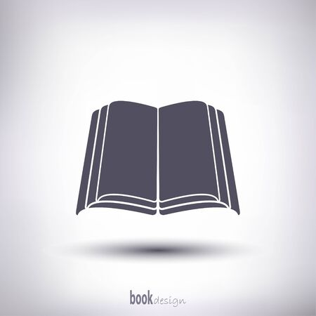 book silhouette: Open book silhouette. As a template for the label or icon. Gray with shadow on a white background.
