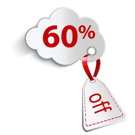 confirms: Cloud with red ribbon and attached a price tag on a white background. With sixty percent of the inscription.