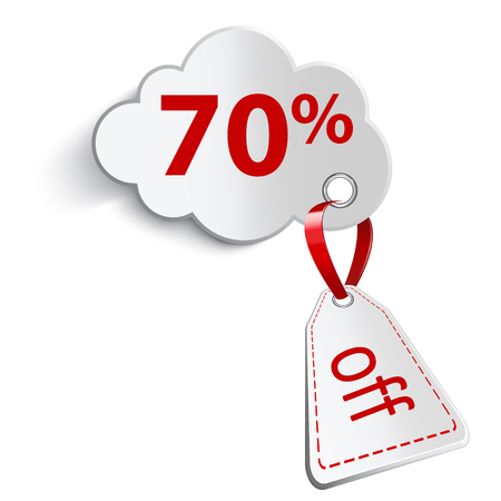confirms: A cloud with a red ribbon. And attaching a price tag on a white background. With an inscription seventy percent.