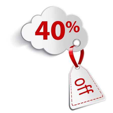 confirms: A cloud with a red ribbon. And attaching a price tag on a white background. With an inscription forty percent.