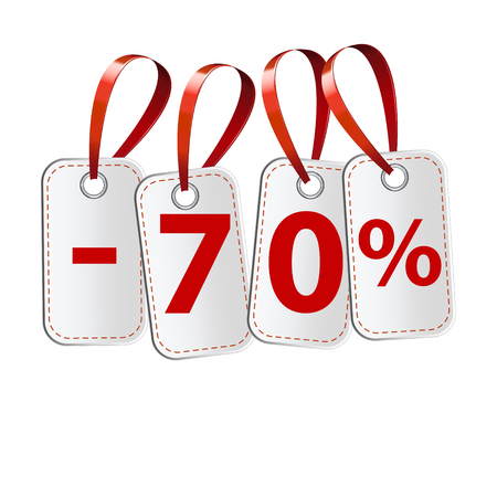 confirms: Four labels with the inscription seventy percent. As the price tags on a white background. With a red ribbon. Illustration