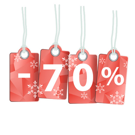 confirms: Four labels with the inscription seventy percent. As the price tags on a white background. On thread. Decorated with snowflakes. Illustration