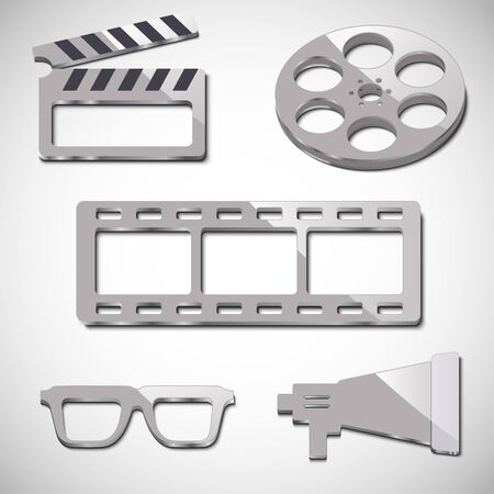 film industry: The film industry five elements. Beige color, with shadow and glare.