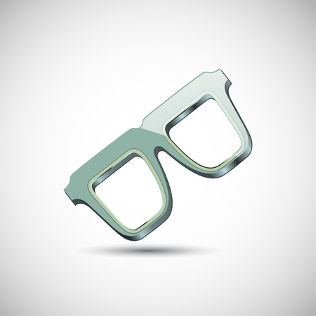eyewear fashion: One pair of glasses vector. The colors of the olive. With the shadow on a gray background.