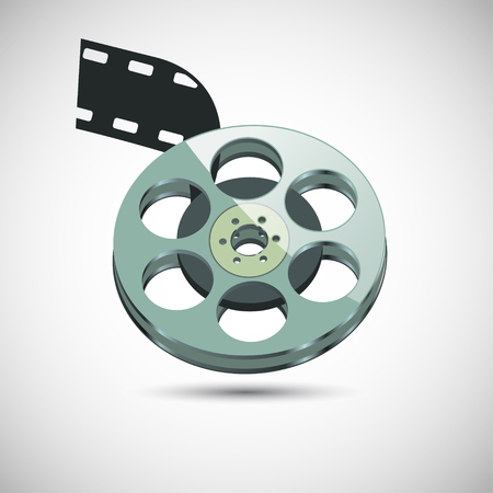 bobbin: Bobbin for movies with a black ribbon. On a gray background with shadow. Illustration