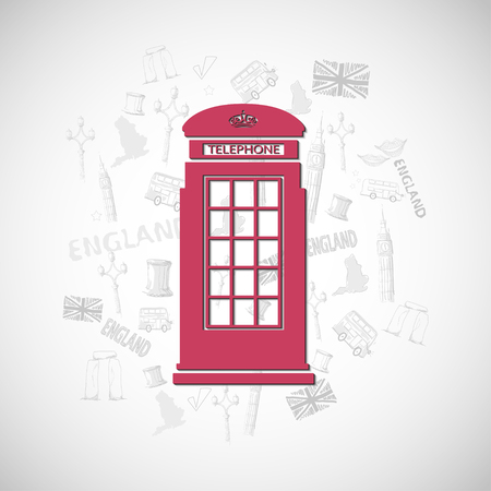 telephone booth: Red telephone booth england. With shadow. In the background line drawing.