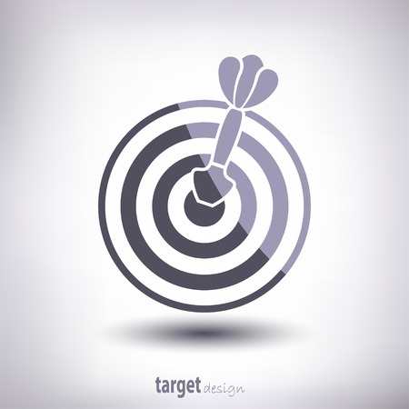 hitting: Target and dart. With highlights and shadows. On a gray background. Vecto.