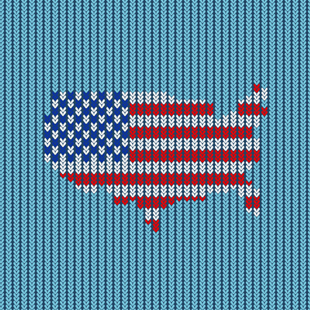 reminiscent: Pattern knitted. American flag. Vector. Reminiscent of the knitted fabric.
