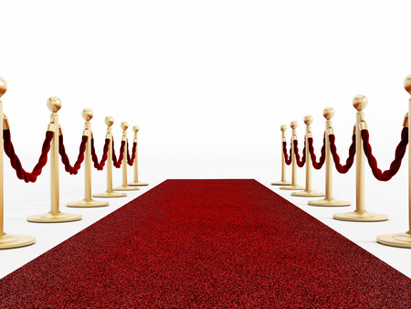 Red carpet and velvet ropes isolated on white photo