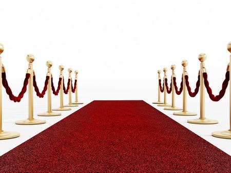 velvet rope barrier: Red carpet and velvet ropes isolated on white