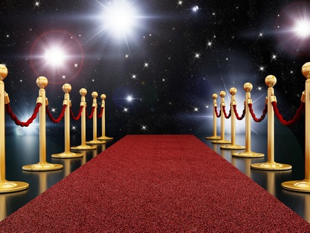 velvet rope barrier: Red carpet night Stock Photo