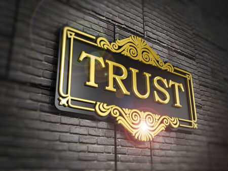 pay wall: Trust signboard Stock Photo