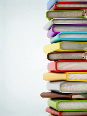 medium close up: Colorful book stack with copyspace