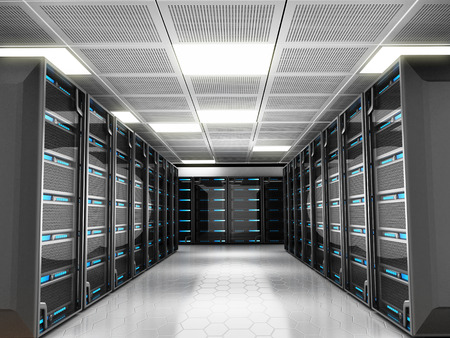 racks: Network server room with high technology equipment