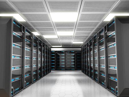 red informatica: Sala de servidores de red con equipos de alta tecnología Foto de archivo