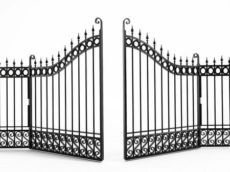 Black iron gate isolated on white Фото со стока