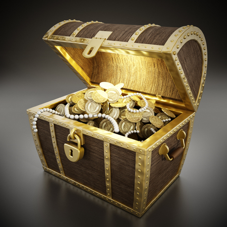 Glowing treasure chest full of treasures photo