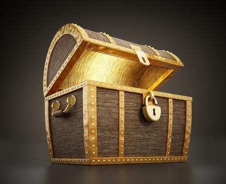 보물의 전체 빛나는 보물 상자