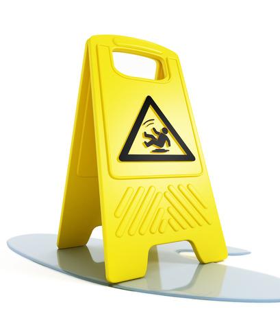 Slippery floor warning on white background Stock Photo