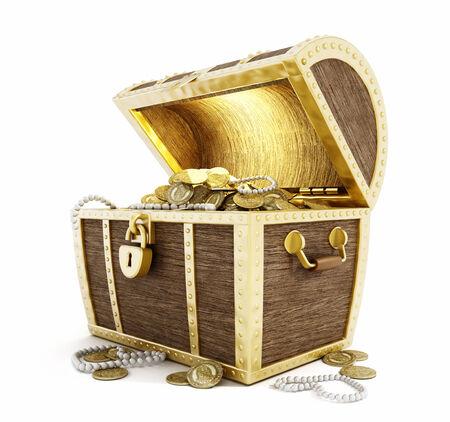 cofre del tesoro: Cofre del tesoro lleno de monedas de oro aisladas sobre fondo blanco