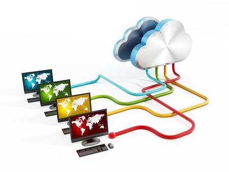 three dimensional accessibility: Cloud computing concept with desktop computers  Stock Photo