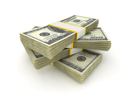 money packs: 100 Dollar money packs isolated on white background  Stock Photo