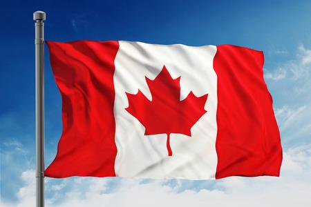 Flag of Canada on blue sky