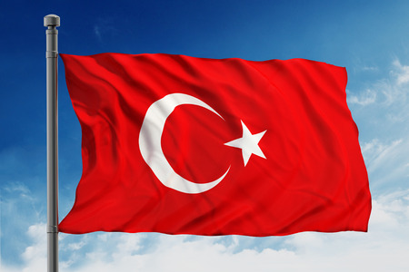 turkish flag: Flag of turkey on blue sky background