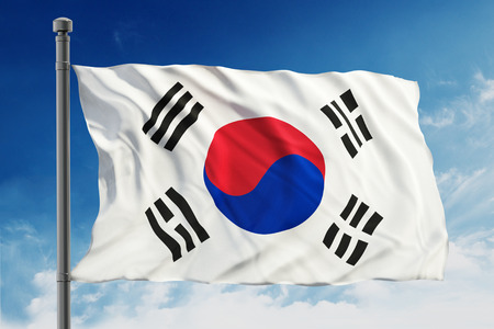Flag of South Korea on blue sky background