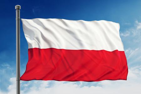 polish flag: Flag of Poland on blue sky background Stock Photo