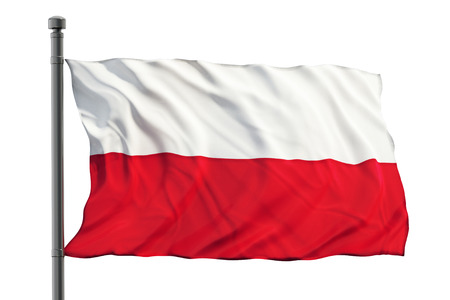 bandera de polonia: Bandera de Polonia aislado sobre fondo blanco  Foto de archivo