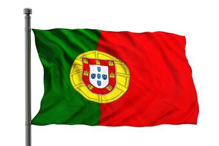 drapeau portugal: Drapeau du Portugal sur fond blanc