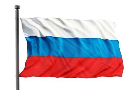 bandera rusia: Bandera de Rusia en el fondo blanco Foto de archivo