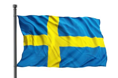 bandera de suecia: Bandera de Suecia sobre fondo blanco Foto de archivo