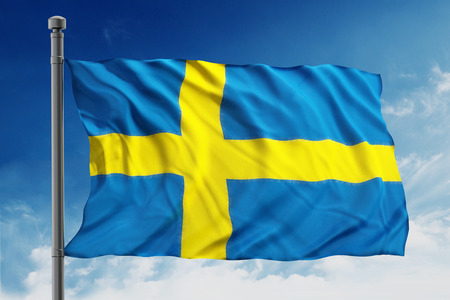 sweden flag: Flag of sweden on blue sky background Stock Photo