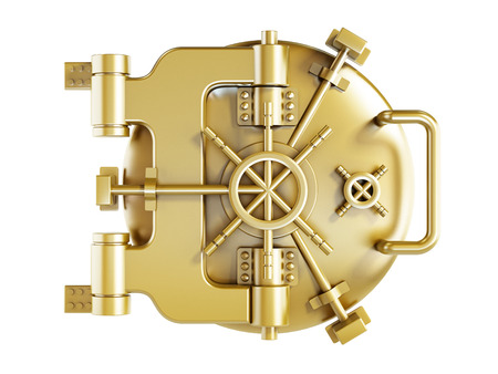 アーチ型金属銀行ドア 写真素材