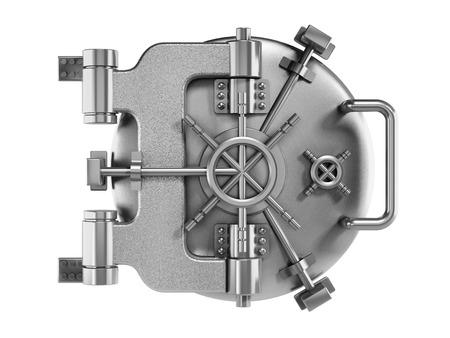 Vaulted metal bank door isolated on white photo