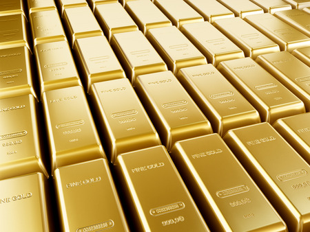 lingotes de oro: Barras de oro en una pila Foto de archivo