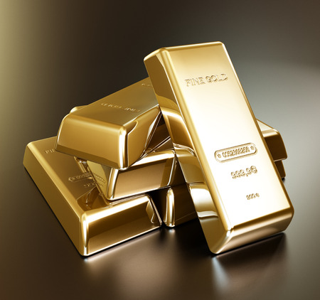 gold bars: Gold bars in a stack