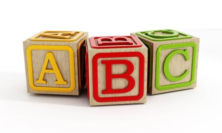 studio b: Toy blocks with letters A, B and C isolated on white