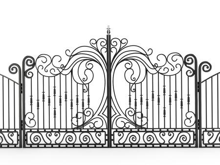 puertas de hierro: Portón de hierro aisladas sobre fondo blanco Foto de archivo
