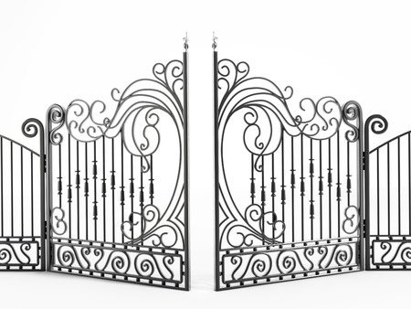 Iron gate isolated on white background Stock Photo