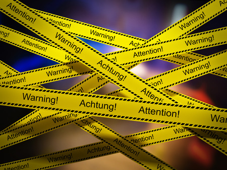 murdering: Yellow warning tapes in crime scene